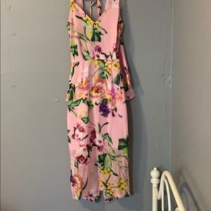 Pretty Little Thing floral tie back midi dress